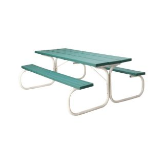 Leisure Time Commercial Injection-Molded Picnic Table with Steel Frame — 72in.L, Green, Model# 25067