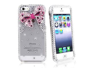 Insten Diamonds with 3D Pink Bow Tie Snap on Case Cover + Clear Reusable Screen Protector compatible with Apple iPhone 5