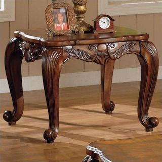 Coaster Venice Traditional Square End Table in Deep Brown Medium Wood Finish   700467