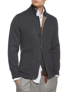 Brunello Cucinelli Double Faced Cashmere Cardigan, Light Brown