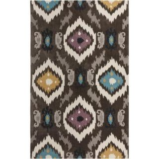 Hand tufted Ikat Jewels Dark Brown Rug (8' x 11')