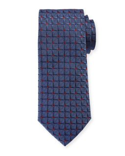 Armani Collezioni Large Dotted Grid Box Pattern Tie, Blue