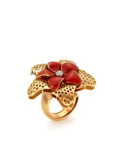Valente Red Enamel & Diamond Flower Ring by Valente