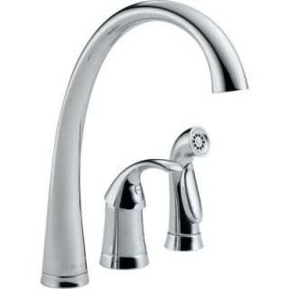 Delta Pilar Waterfall Single Handle Standard Kitchen Faucet with Side Sprayer in Chrome 4380 DST
