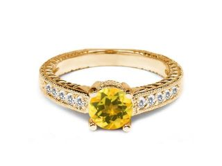0.80 Ct Round Yellow Citrine White Sapphire 925 Yellow Gold Plated Silver Ring
