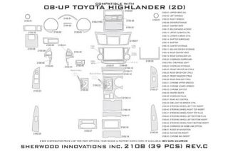 2008 2013 Toyota Highlander Wood Dash Kits   Sherwood Innovations 2108 R   Sherwood Innovations Dash Kits