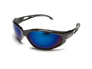 Edge Eyewear SW118  Dakura Wrap Around Safety Glasses, Black/Blue Mirror Lens