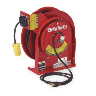 REELCRAFT Red Retractable Cord Reel, 13 Max. Amps, Cord Ending: Single Industrial Connector   Extension Cord Reels   2XHZ7|L 4035 163 3 1