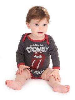 Amplified Kids Babies Rolling Stones Tour Marl Babygrow Grey