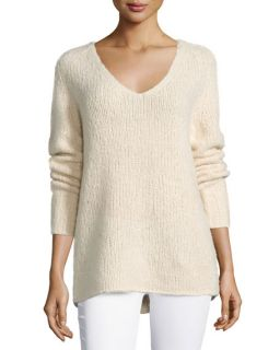 Donna Karan V Neck Cashmere Blend Sweater, Parchment