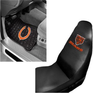 NFL Chicago Bears 2 pc Front Floor Mats and Chicago Bears Car Seat Cover Value Bundle