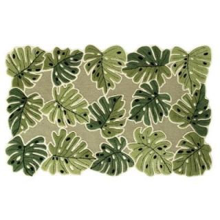 Direct Home Textiles Tropical Leaves Green 8 ft. x 10 ft. Area Rug DISCONTINUED 52HM531GR96X120