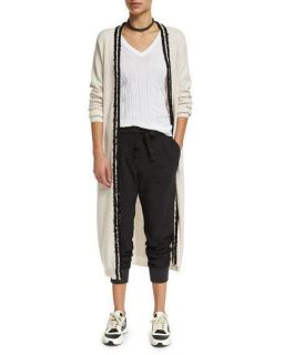 Brunello Cucinelli Paillette Trim Cashmere Cardigan, Monili Trim V Neck Ribbed Tee, Necklace & Pleated Front Belted Jogger Pants