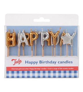 TALA   Gold and silver Happy Birthday candles