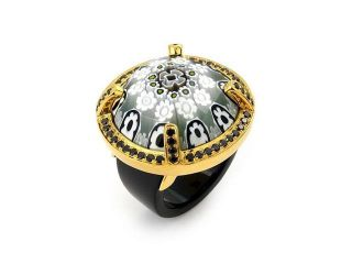 927 Sterling Silver Exquisite Collection Faceted Blk/Wht Murano Glass Gold Plated Ring W/ High Quality CZ Microsetting