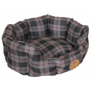 PET LIFE Large Olive Green Plaid Bed PB4OGLG