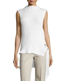 Derek Lam 10 Crosby Sleeveless Ribbed Knit Sweater, Soft White