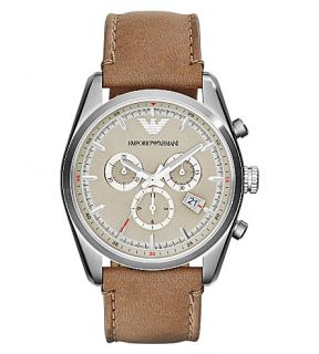 EMPORIO ARMANI   AR6040 stainless steel and leather watch