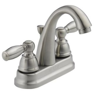 Delta Bathroom Faucet, Arc Spout, Brushed Nickel, 2 S Lever Handles Model# P299696LF BN