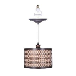 Worth Home Products 1 Light Brushed Bronze Instant Pendant Conversion Kit and Overlay with Linen Drum Shade PBN 6058 0011