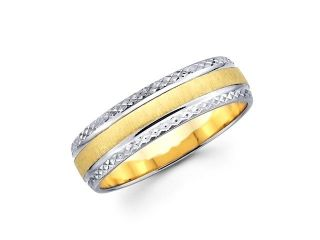 Solid 14k Yellow and White Two Tone Gold Womens Mens Diamond Cut Design Wedding Ring Band 6MM Size 8