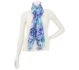 Isaac Mizrahi Live Floral Print Scarf with Fringe —