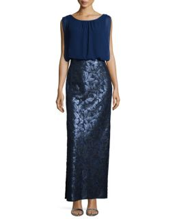 Aidan Mattox Combo Chiffon and Sequined Column Gown