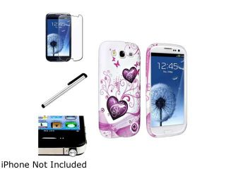 Insten Pink Heart TPU Rubber Case + Clear Diamond Headset Dust Cap + Screen Protector Bundle Compatible With Samsung Galaxy S3 I9300