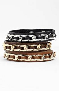 Cara Accessories Leather & Chain Link Wrap Bracelet