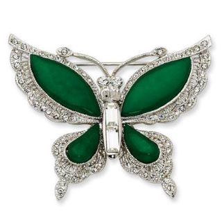 Silver tone Swarovski Crystal Simulated Jade Butterfly Pin. Lovely Gift Box, Certificate of Authenticity, and Romance Card Included
