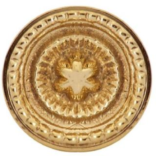 Copper Mountain Hardware Beaded Star 1 1/4 in. Polished Brass Round Cabinet Knob SH116US3L