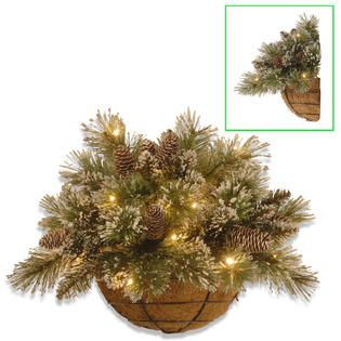 National Tree Company 20In Glittery Bristle Pine Wall Basket with LED