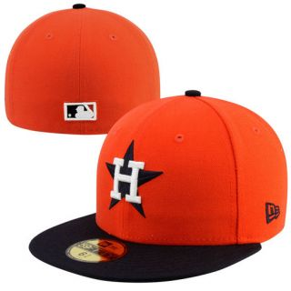 New Era Houston Astros Two Tone 59FIFTY Fitted Hat   Orange/Navy Blue