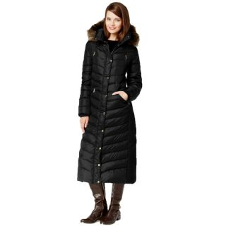 Michael Kors Black Faux Fur Hooded Maxi Coat   18108873
