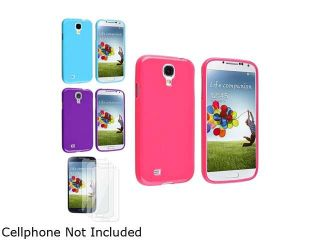 Insten Pink + Blue + Purple TPU Skin Gel Case + 3 Clear LCD Screen Protector Compatible with Samsung Galaxy S4 SIV i9500