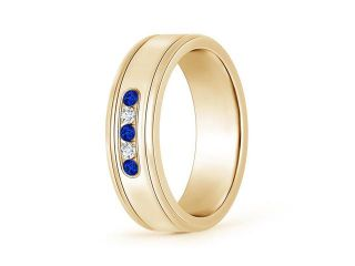 0.15ct. Round Blue Sapphire and Diamond Five Stone Wedding Band in 14K Yellow Gold