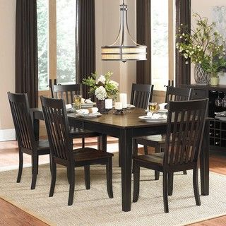 Zachary 7 piece Two tone Sand through Black/ Brown Extending Dining