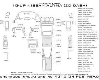 2008 2012 Nissan Altima Wood Dash Kits   Sherwood Innovations 4212 CF   Sherwood Innovations Dash Kits