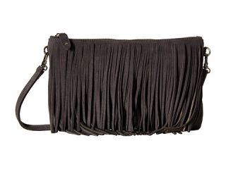 Mighty Purse Fringe X Body Bag Black Suede Leather