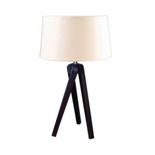 Fangio Lighting 28 in. Espresso Wood Tripod Table Lamp QT 1645