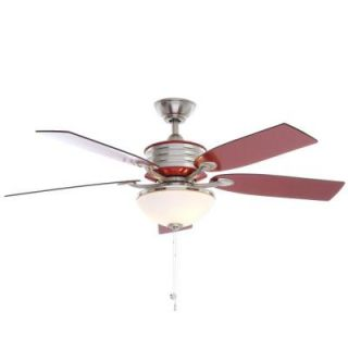 Hampton Bay Santa Cruz 52 in. Brushed Nickel Ceiling Fan with Red Accents AG712 BN+RD