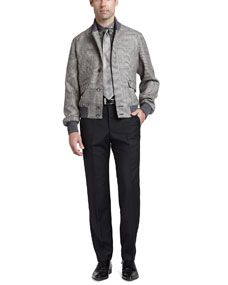 Alexander McQueen Glen Plaid Bomber Jacket, Skull & Dot Short Sleeve Shirt, Wool/Mohair Dress Pants & Glen Plaid Silk Tie