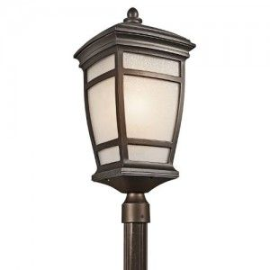 Kichler 49275RZ Outdoor Light, Transitional Post Mount 1 Light Fixture   Rubbed Bronze