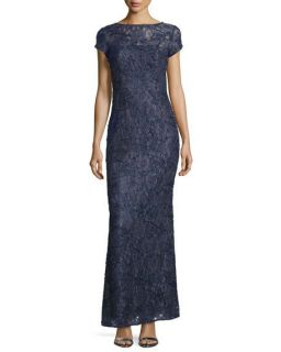 Laundry by Shelli Segal Cap Sleeve Bateau Neck Lace Gown, Midnight