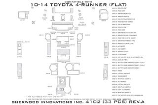 2010, 2011, 2012 Toyota 4Runner Wood Dash Kits   Sherwood Innovations 4102 R   Sherwood Innovations Dash Kits