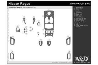 2011, 2012, 2013 Nissan Rogue Wood Dash Kits   B&I WD1009D DCF   B&I Dash Kits