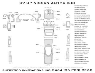 2007 2012 Nissan Altima Wood Dash Kits   Sherwood Innovations 2464 N50   Sherwood Innovations Dash Kits
