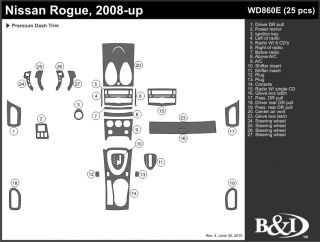 2008, 2009, 2010 Nissan Rogue Wood Dash Kits   B&I WD860E DCF   B&I Dash Kits