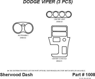 1996 1999 Dodge Viper Wood Dash Kits   Sherwood Innovations 1008 N50   Sherwood Innovations Dash Kits