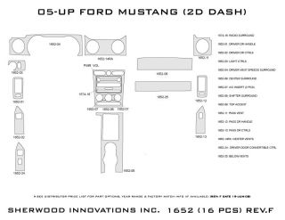 2005 2009 Ford Mustang Wood Dash Kits   Sherwood Innovations 1652 CF   Sherwood Innovations Dash Kits